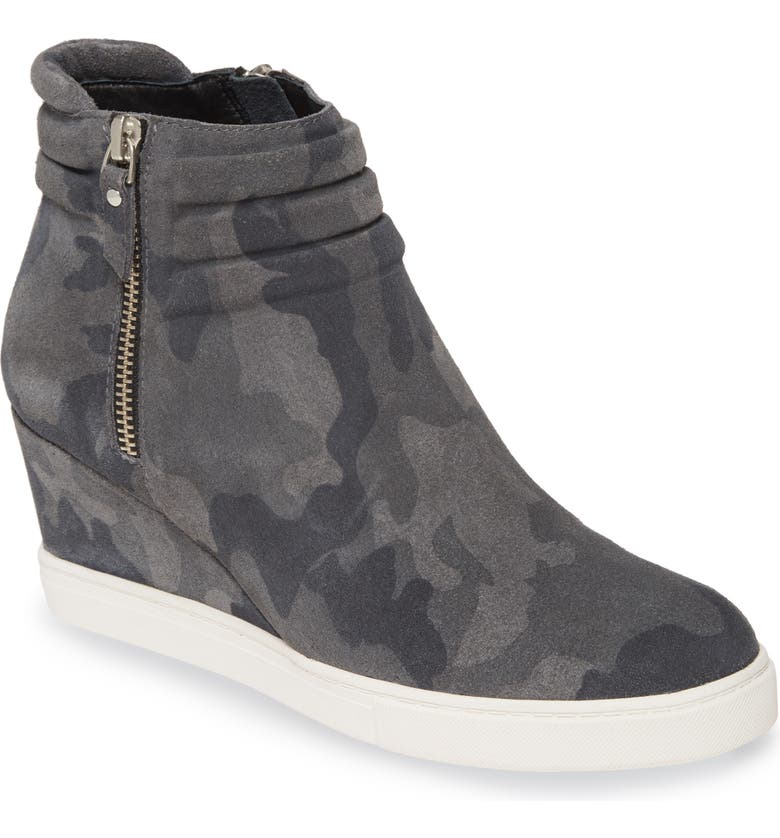LINEA PAOLO Frieda Wedge Bootie, Main, color, BLACK DARK GREY SUEDE