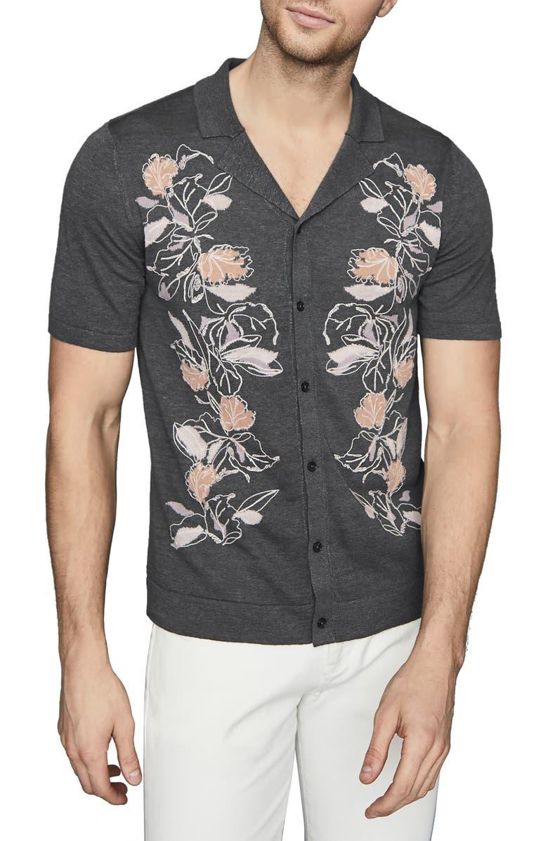REISS Hernandez Slim Fit Floral Jacquard Short Sleeve Linen Blend Button-Up Camp Shirt, Main, color, STEEL