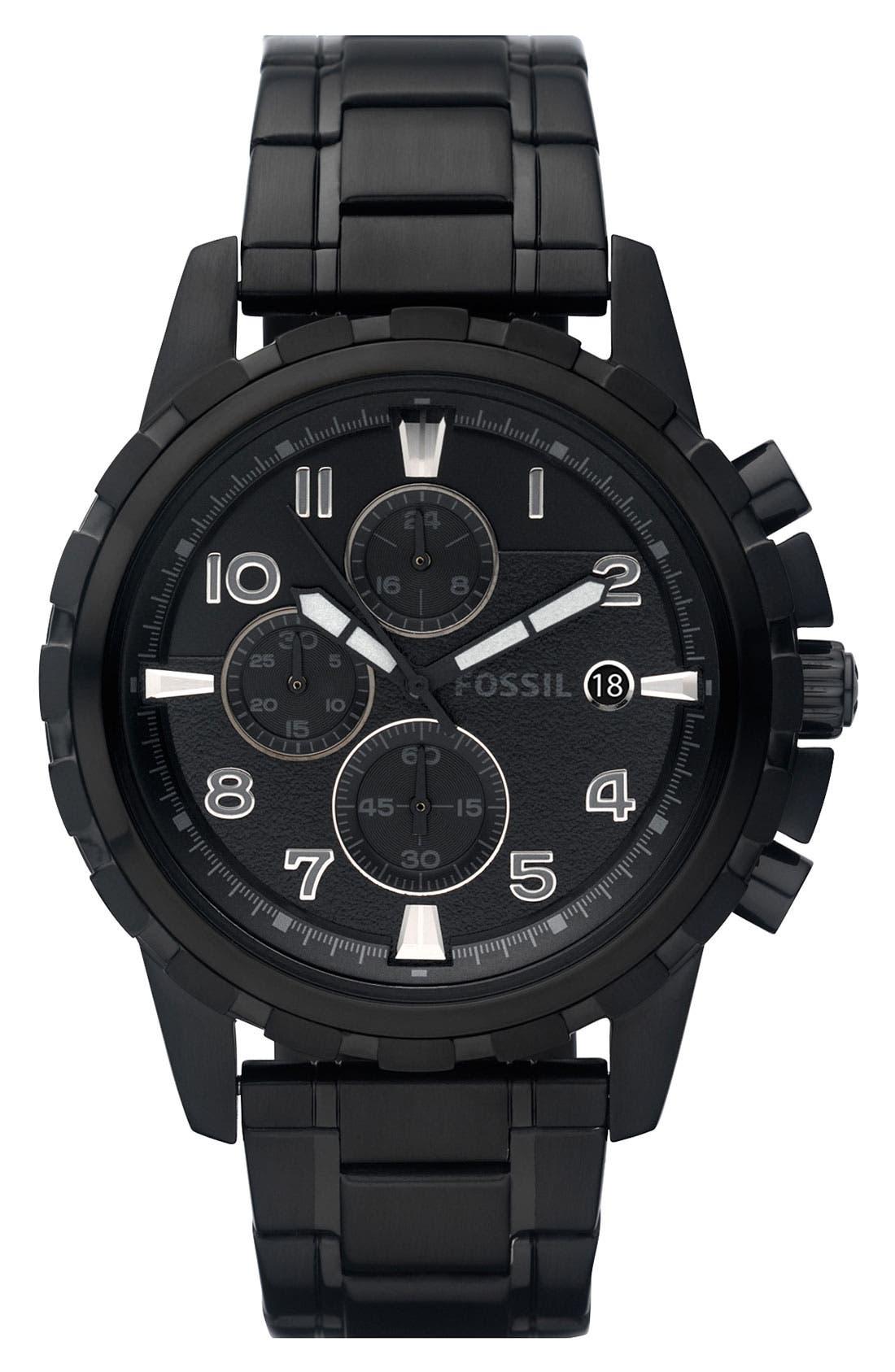 ,                             Notched Bezel Chronograph Bracelet Watch, 45mm,                             Main thumbnail 5, color,                             001