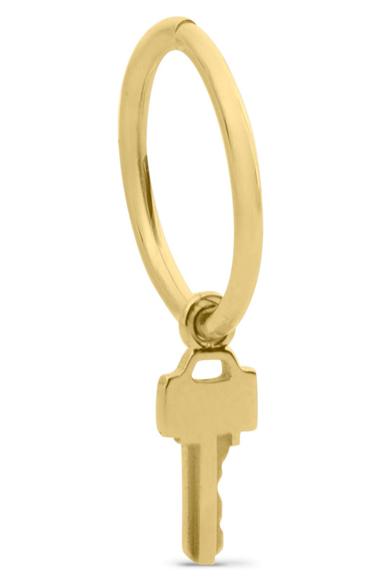 LAUREN KLASSEN Tiny Key Hoop Earring, Main, color, YELLOW GOLD