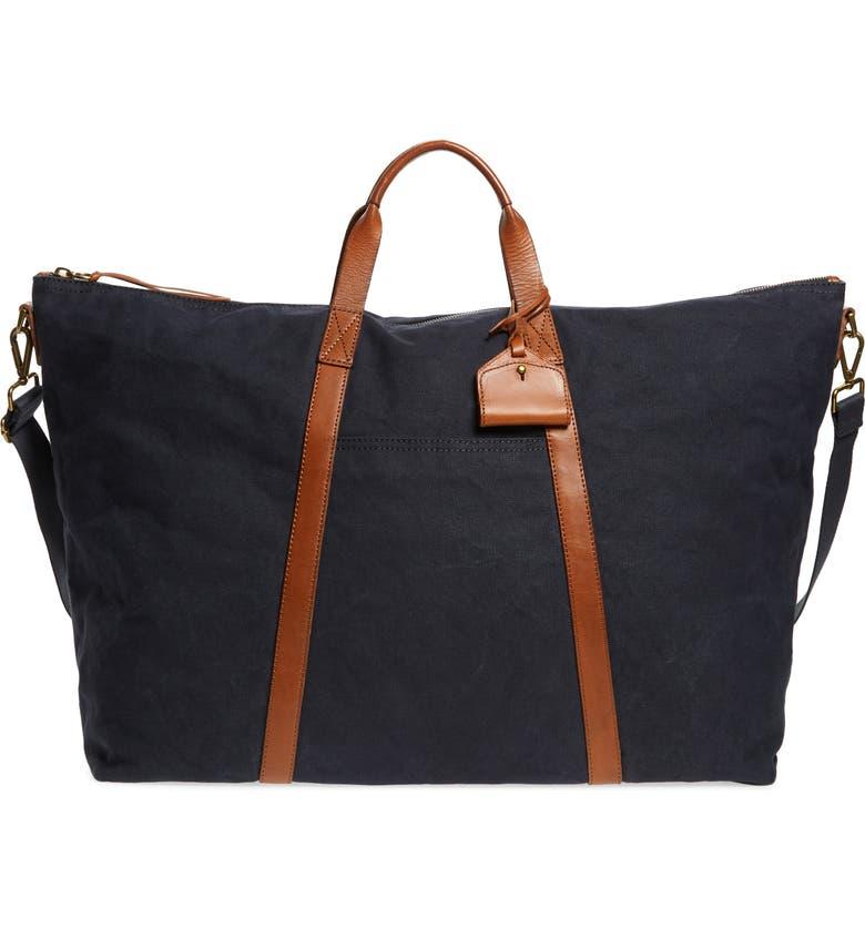 MADEWELL Canvas Weekend Bag, Main, color, BLACK SEA