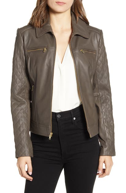Cole Haan Jackets QUILTED LAMBSKIN LEATHER JACKET