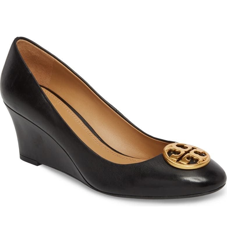 TORY BURCH Chelsea Logo Medallion Wedge, Main, color, PERFECT BLACK