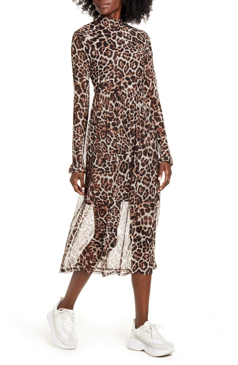 ONE CLOTHING Leopard Print Long Sleeve Mesh Midi Dress, Main, color, 200