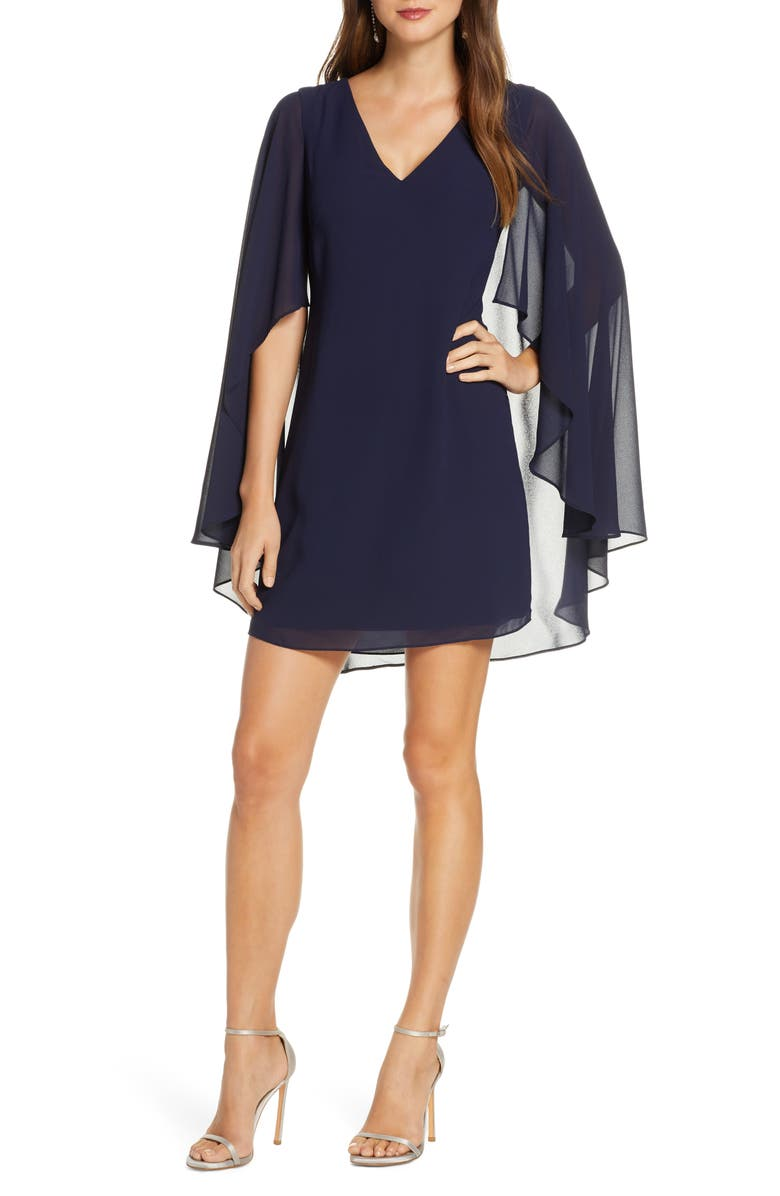 VINCE CAMUTO Cape Back Shift Dress, Main, color, NAVY