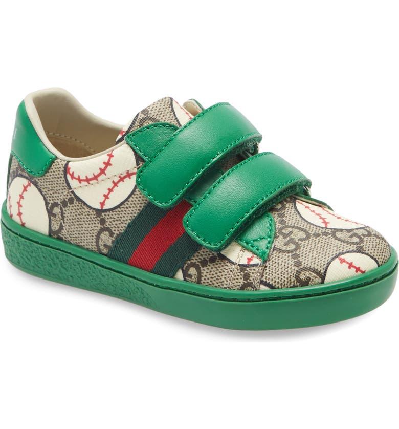 GUCCI Ace Baseball Print GG Supreme Sneaker, Main, color, GREEN