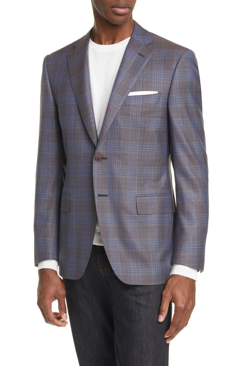 CANALI Classic Fit Plaid Wool Sport Coat, Main, color, GREY