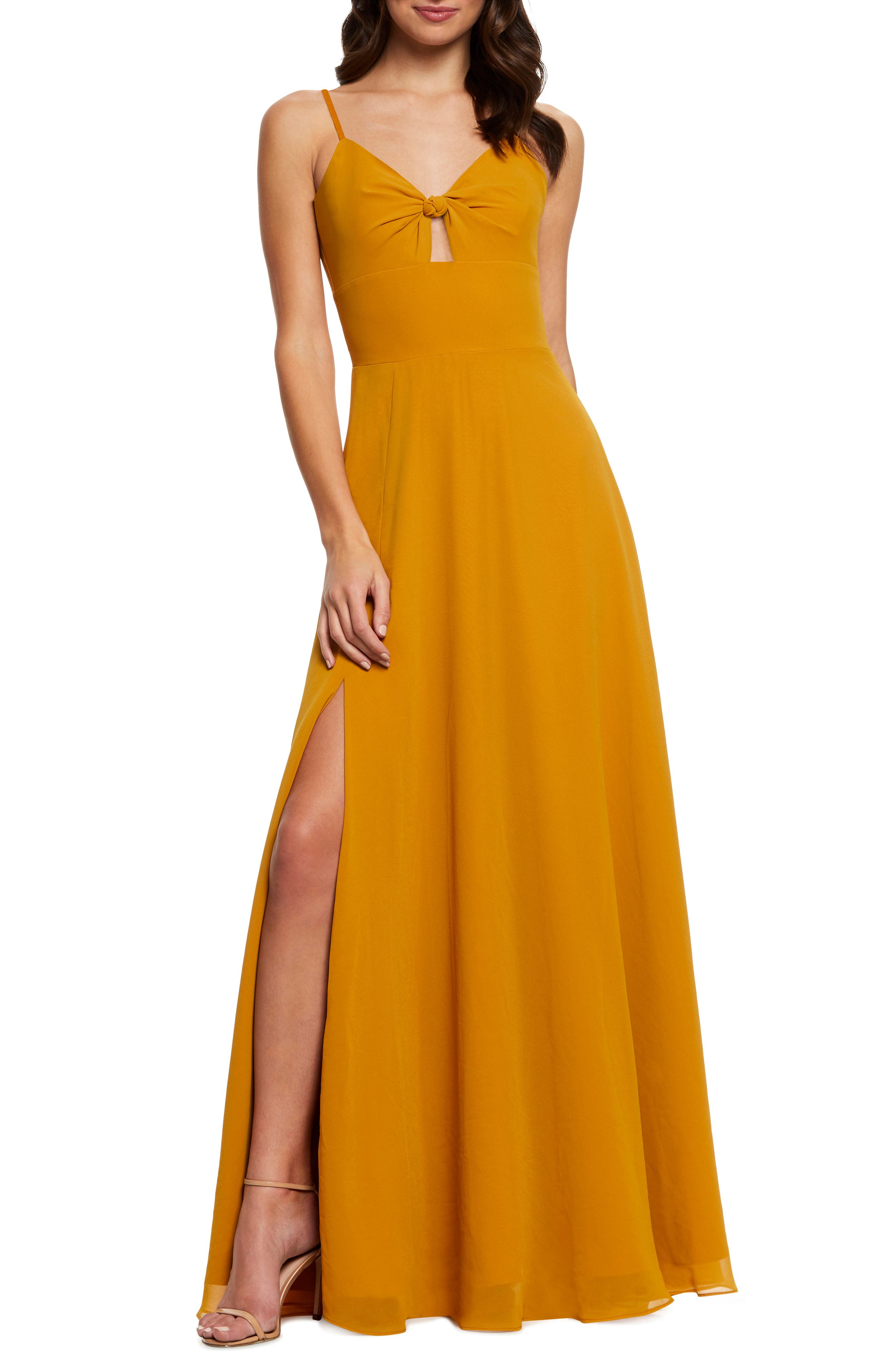 Dress The Population Cambria Tie Bodice Evening Dress, Yellow