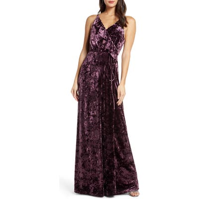 Wayf The Emma Ruffle Neck Velvet Faux Wrap Gown, Purple
