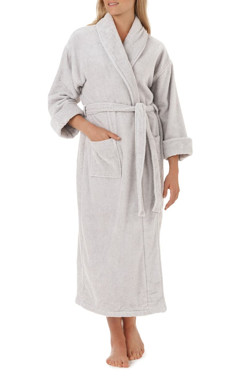 THE WHITE COMPANY Unisex Classic Cotton Robe, Main, color, PEARL GREY