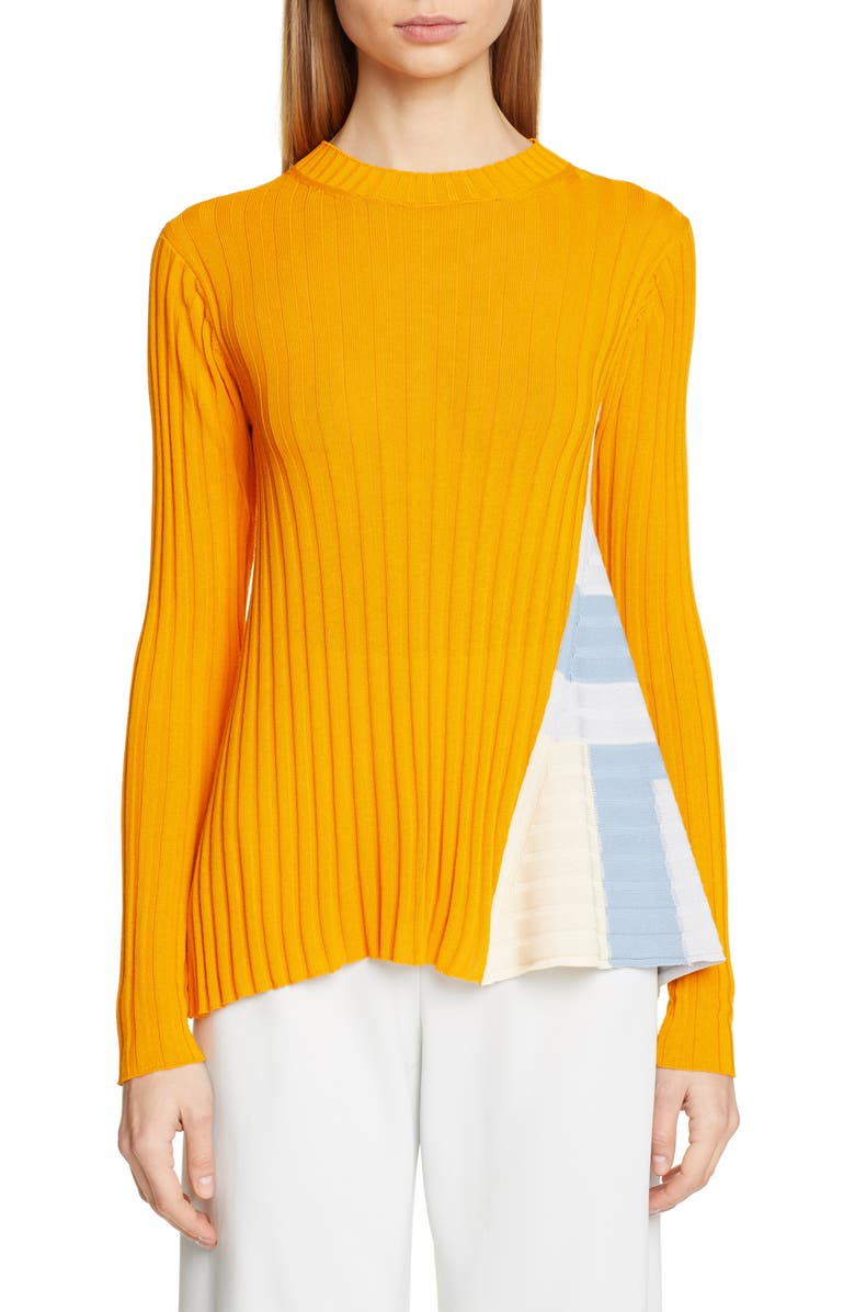 ROSETTA GETTY Side Panel Rib Sweater, Main, color, TANGERINE