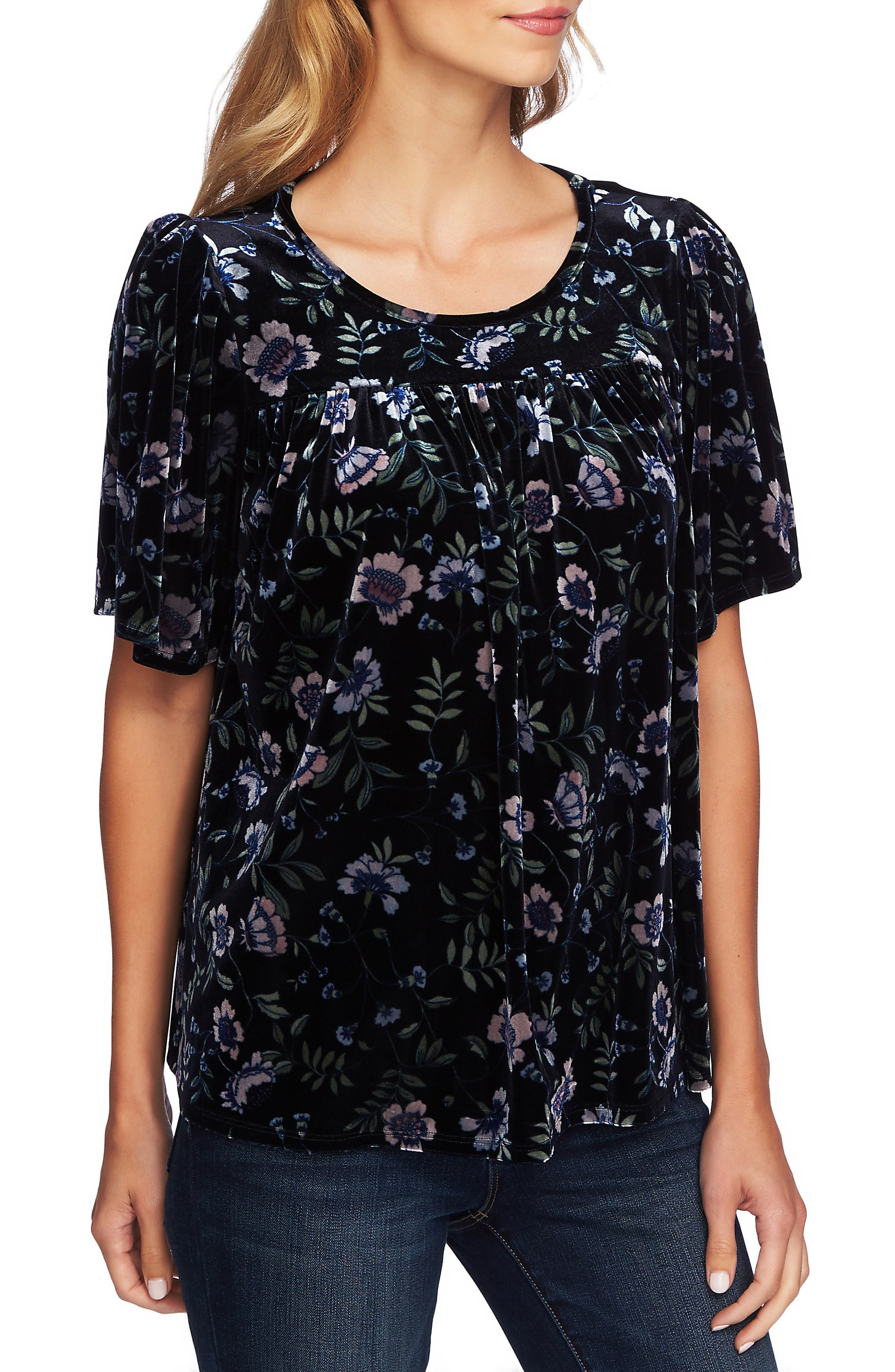 Image of CeCe by Cynthia Steffe Bloomsbury Floral Velvet Top