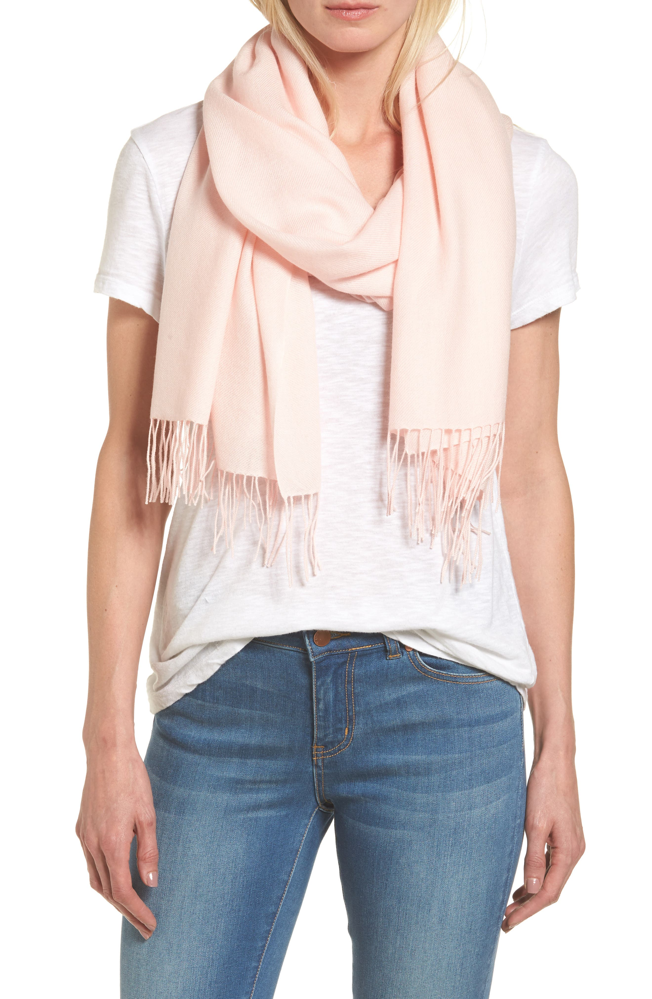 Long fringe tips a tissue-weight scarf woven in a soft blend of wool and cashmere. Style Name: Nordstrom Tissue Weight Wool & Cashmere Scarf. Style Number: 1191910. Available in stores.