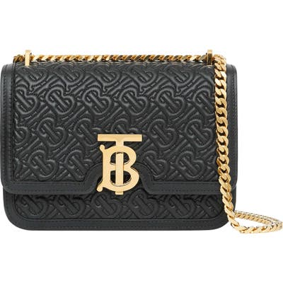 Burberry Small Tb Quilted Monogram Lambskin Bag - Black