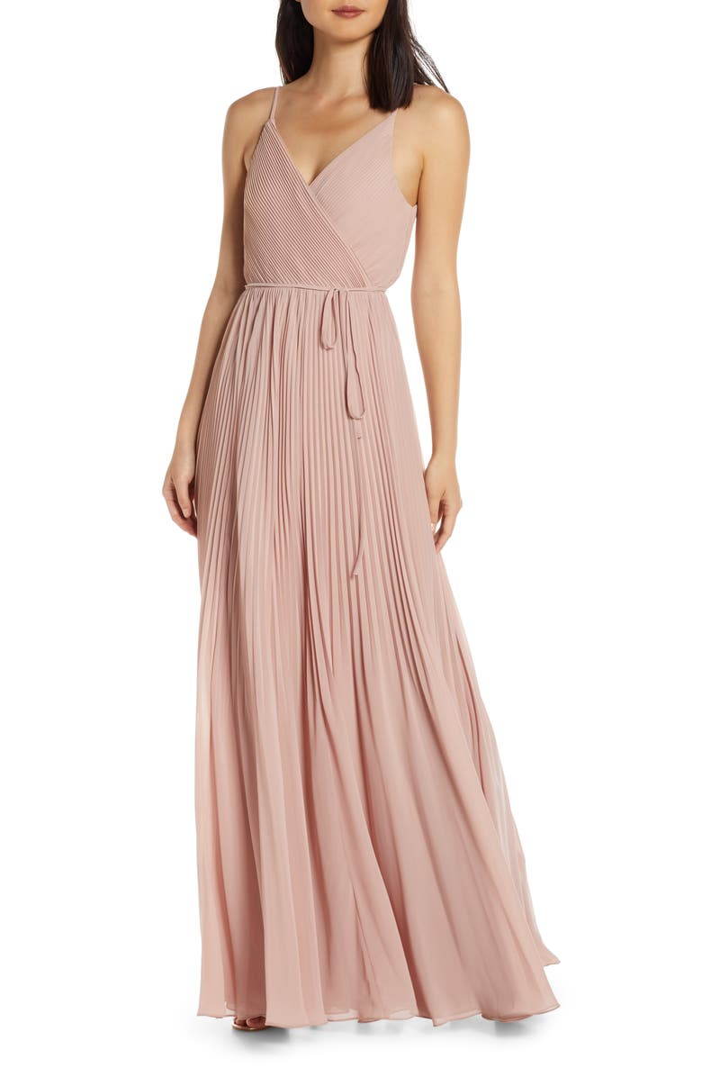 JENNY YOO Kimi Pleated Chiffon Wrap Gown, Main, color, WHIPPED APRICOT