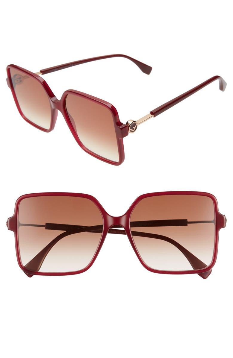 FENDI 58mm Gradient Square Sunglasses, Main, color, OPLE BURGUNDY/ BROWN