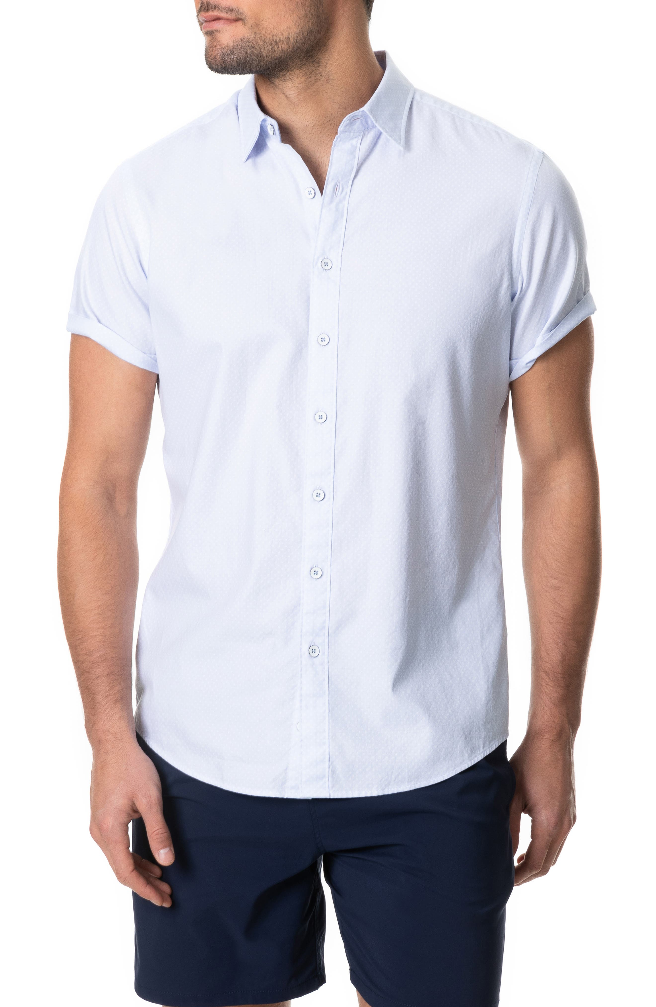 RODD AND GUNN Hurford Regular Fit Dot Short Sleeve Button-Up Shirt at Nordstrom Rack