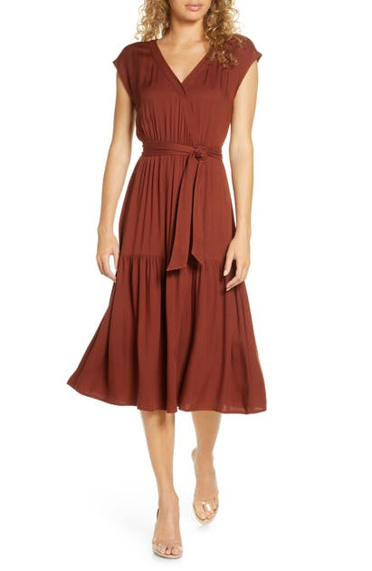 Bb Dakota Dresses TIE WAIST MIDI DRESS