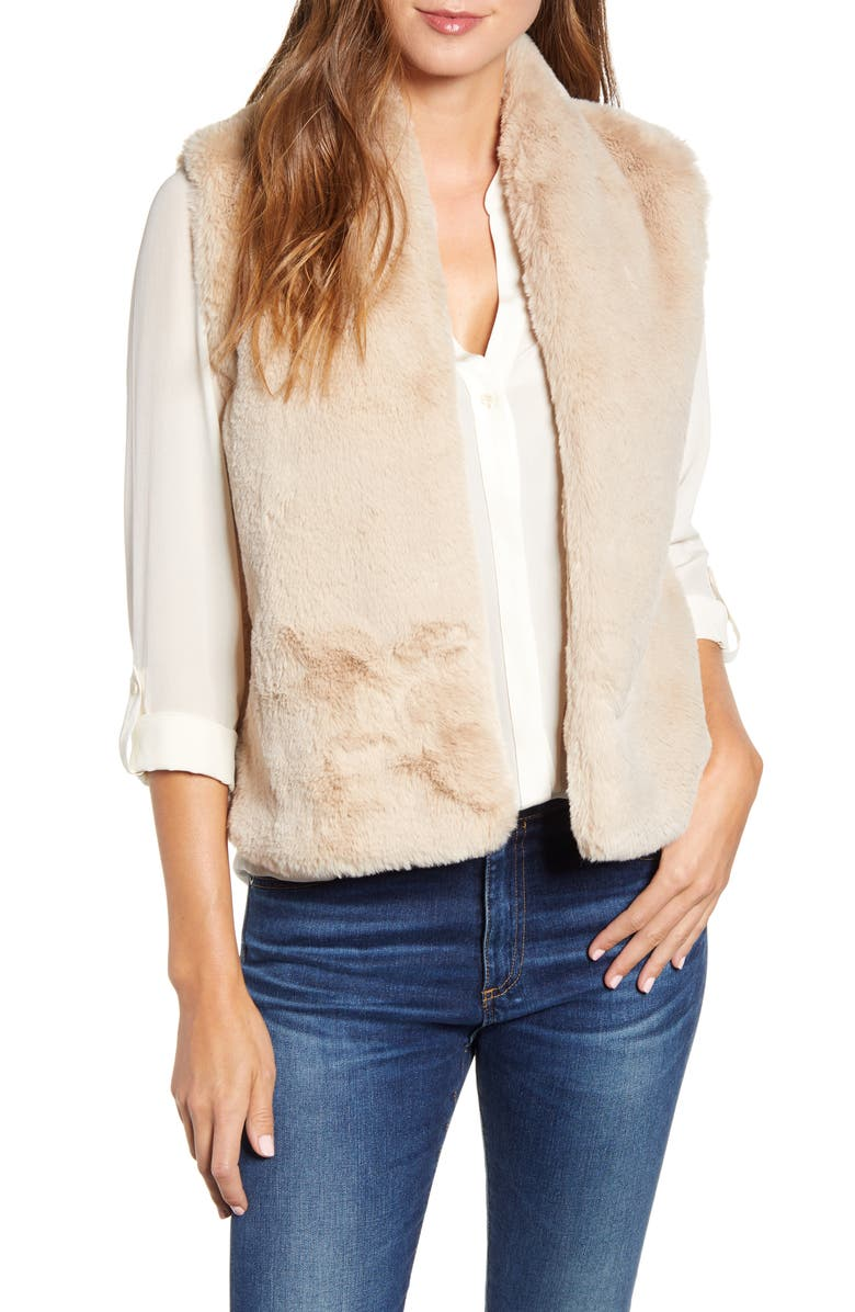 VELVET BY GRAHAM & SPENCER Lux Faux Fur Vest, Main, color, SAND