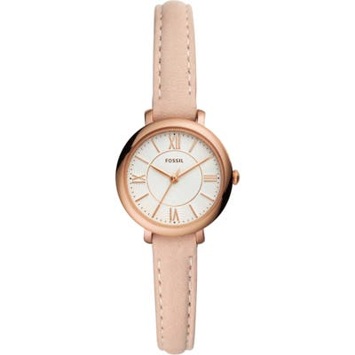 Fossil Jacqueline Mini Leather Strap Watch, 2m