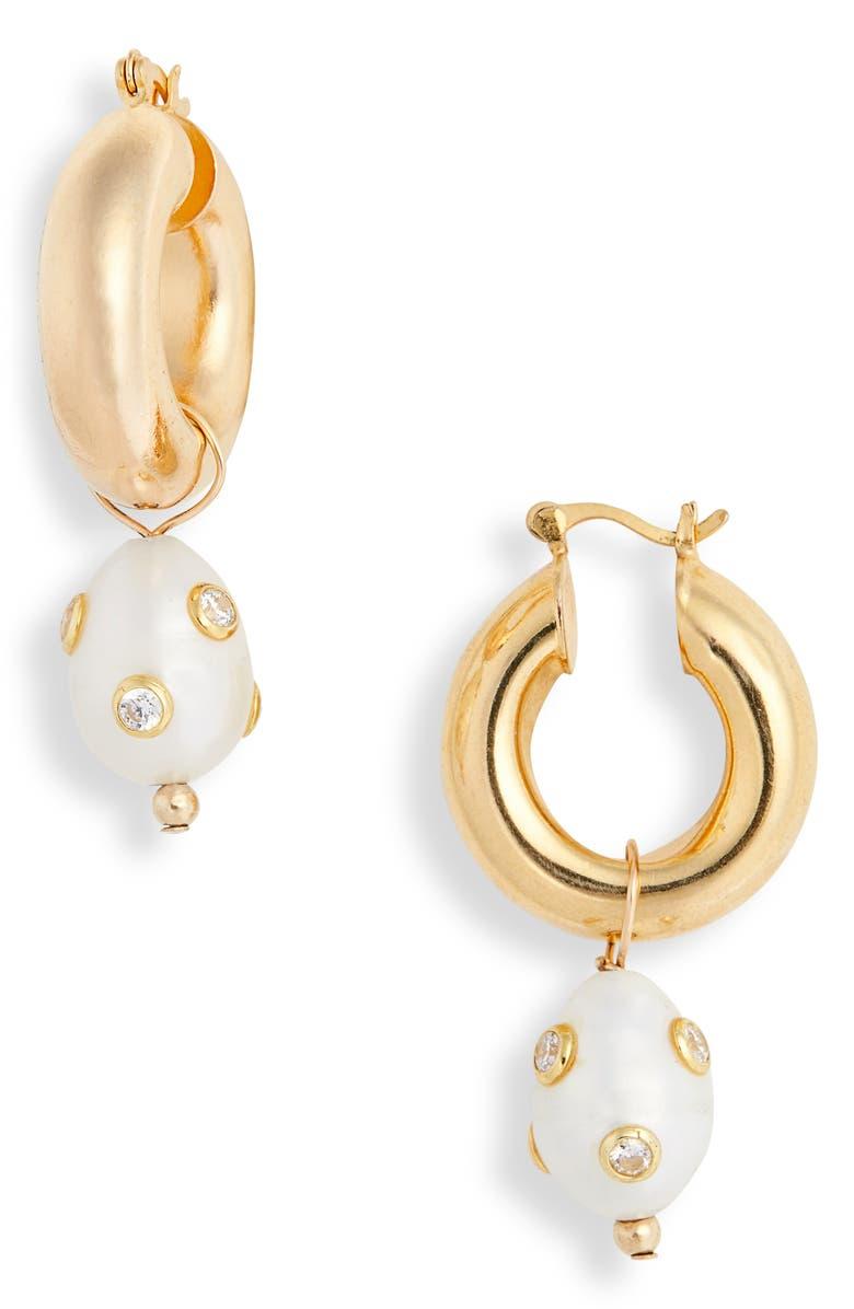 ÉLIOU Lamia Genuine Pearl Earrings, Main, color, GOLD