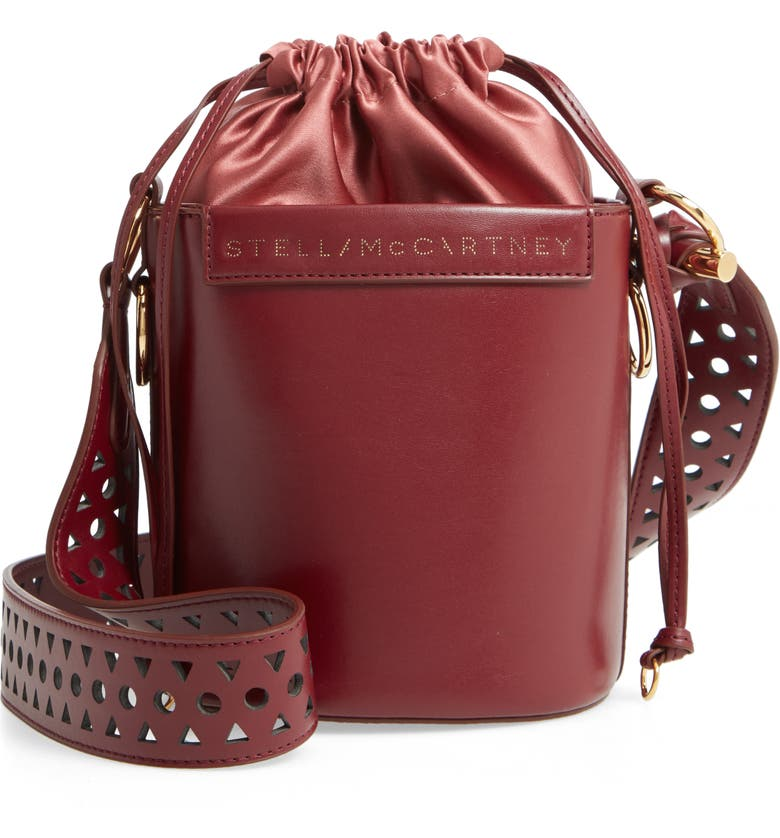 STELLA MCCARTNEY Small Faux Leather Bucket Bag, Main, color, WINE