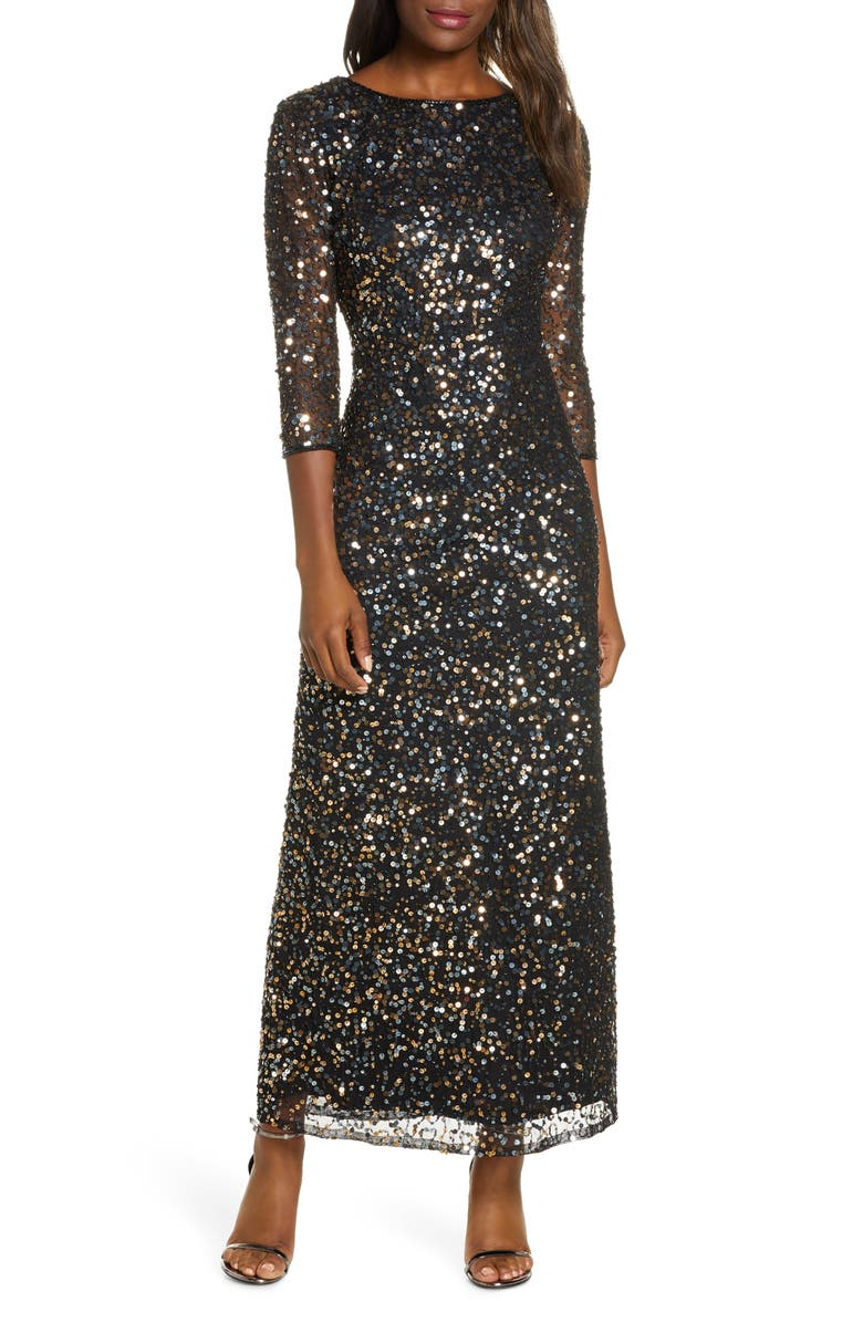 PISARRO NIGHTS Sequin Mesh Gown, Main, color, BLACK/ COPPER