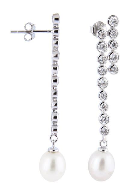 Image of Splendid Pearls 7-7.5mm Freshwater Pearl Bezel Set CZ Dangle Earrings