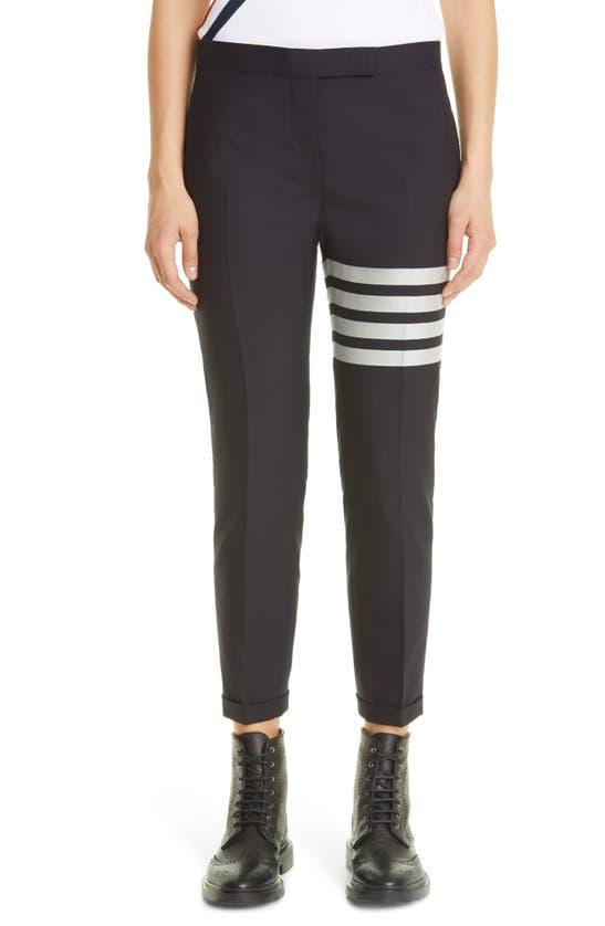 Thom Browne 4-bar Wool Crop Skinny Pants In Navy