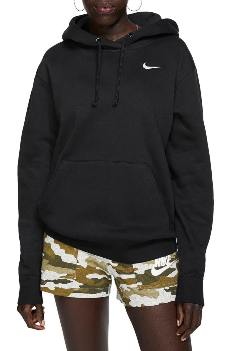 NIKE Sportswear Essential Pullover Fleece Hoodie, Main, color, BLACK/ WHITE