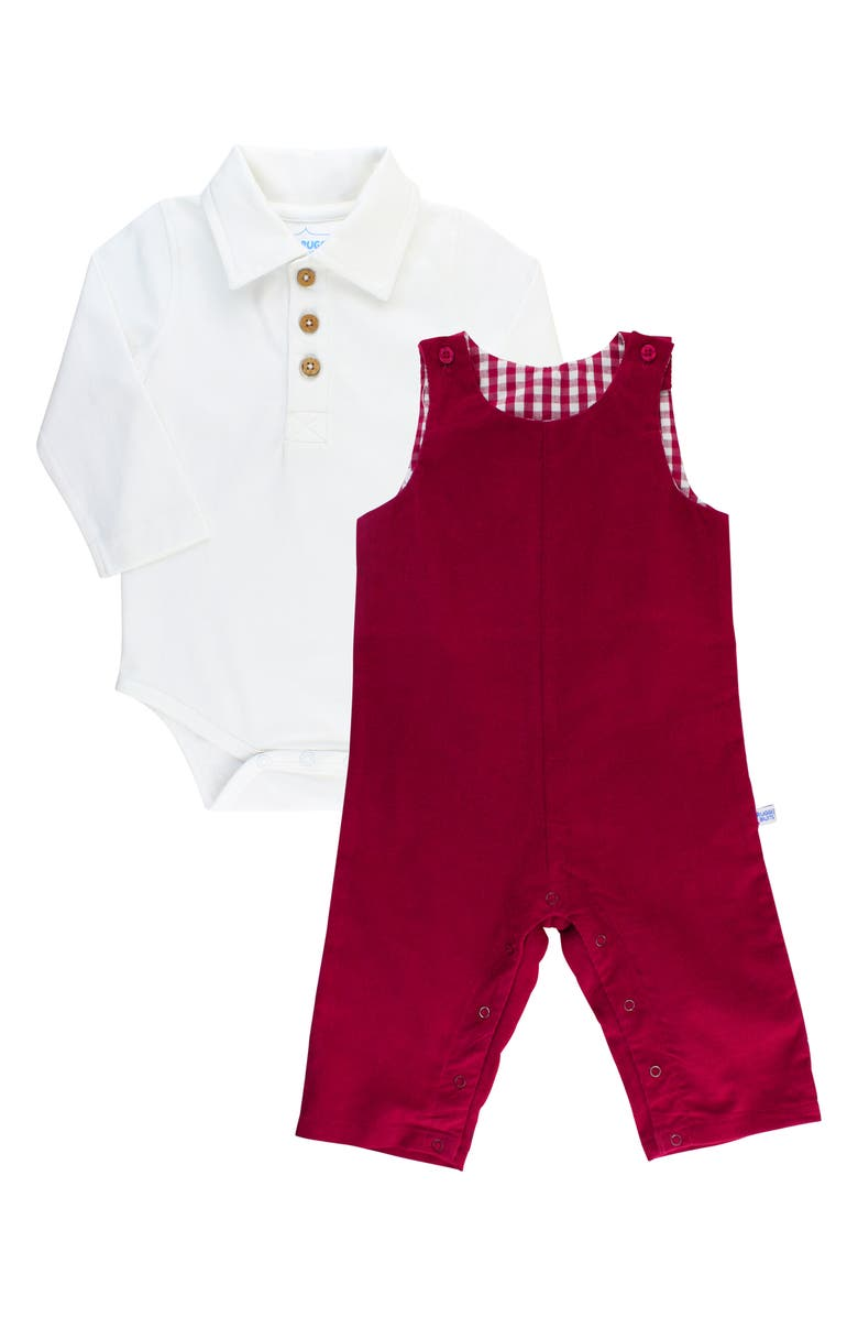 RUGGEDBUTTS Mulb Bodysuit & Overalls Set, Main, color, RED