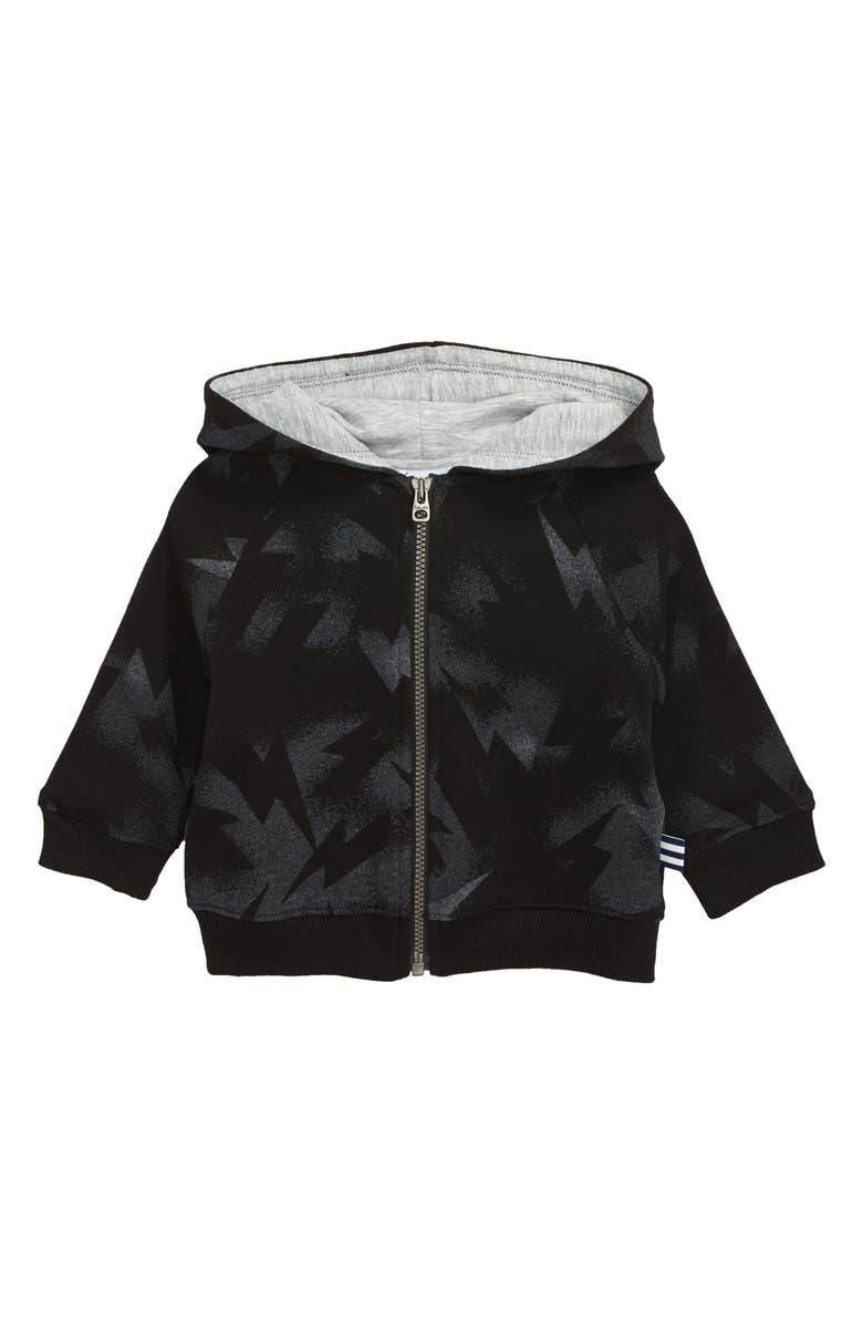 SPLENDID Lightning Full Zip Hoodie, Main, color, BLACK