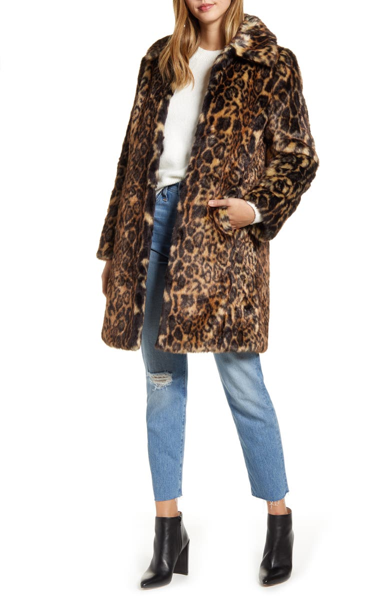 RACHEL PARCELL Faux Leopard Fur Coat, Main, color, BEIGE LEOPARD