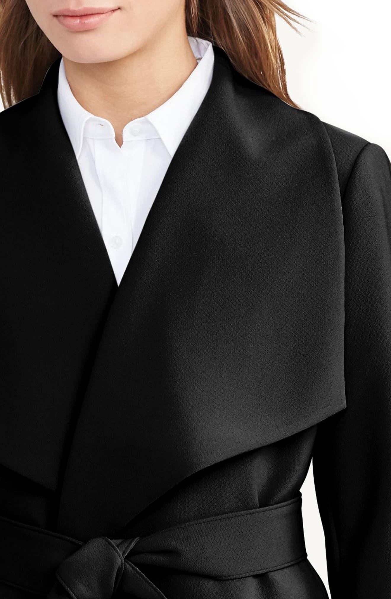 ,                             Belted Crepe Wrap Coat,                             Alternate thumbnail 3, color,                             BLACK