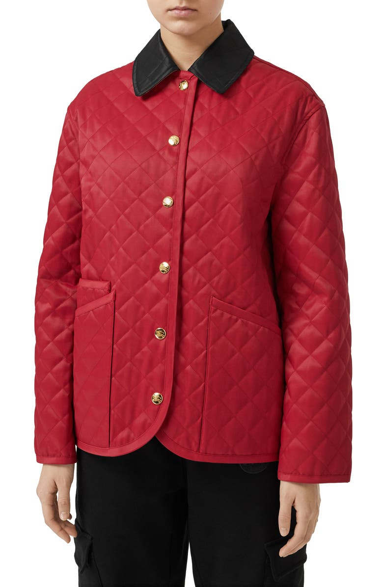 BURBERRY Dranefeld Quilted Jacket, Main, color, RED