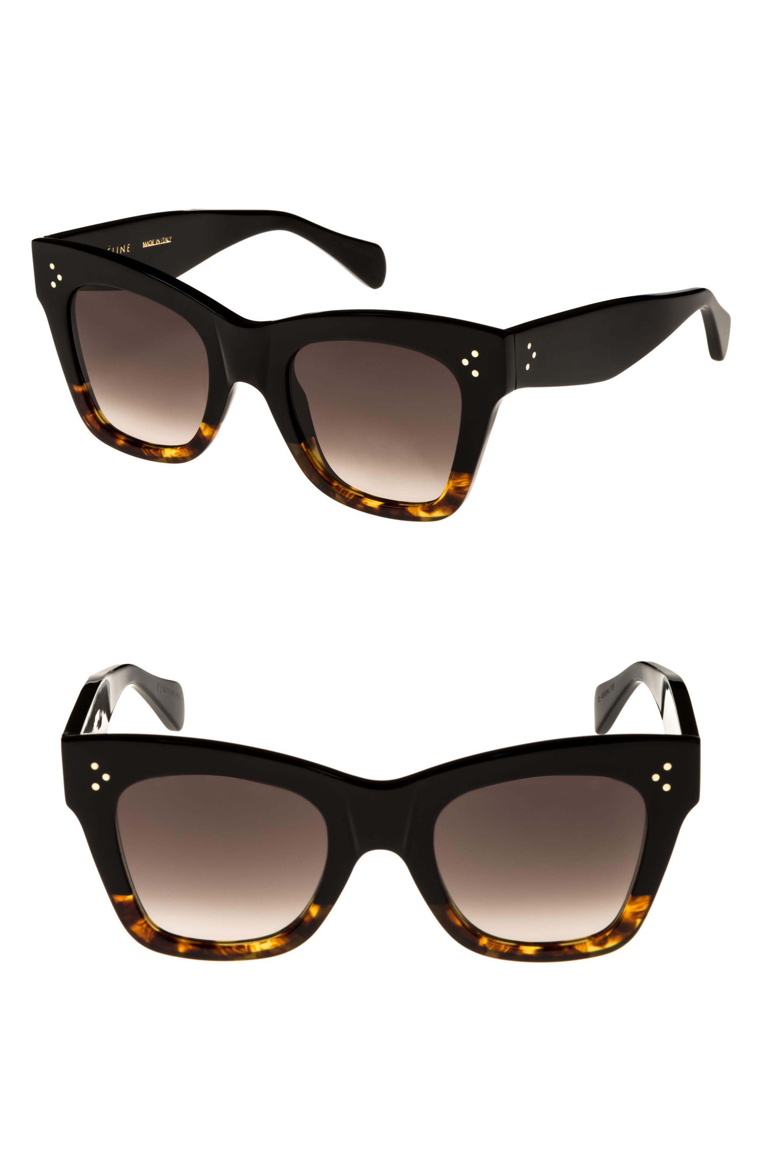 Celine 50Mm Gradient Butterfly Sunglasses - Black/ Havana
