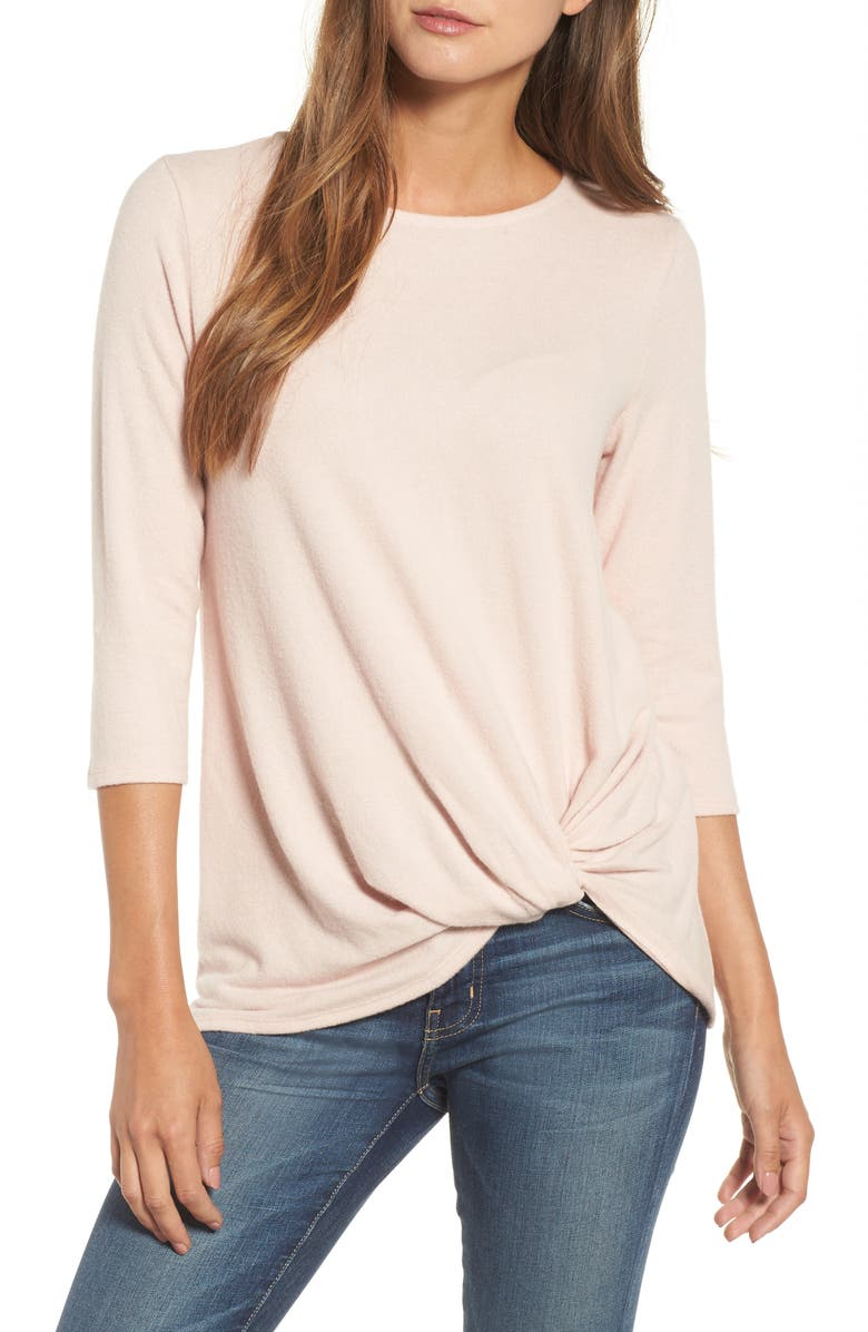GIBSON Cozy Twist Front Pullover, Main, color, PINK SMOKE