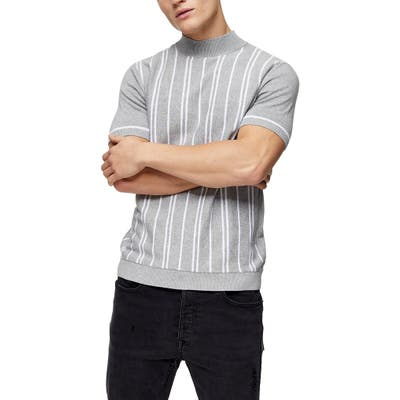 Topman Stripe Short Sleeve Mock Neck Sweater, Grey