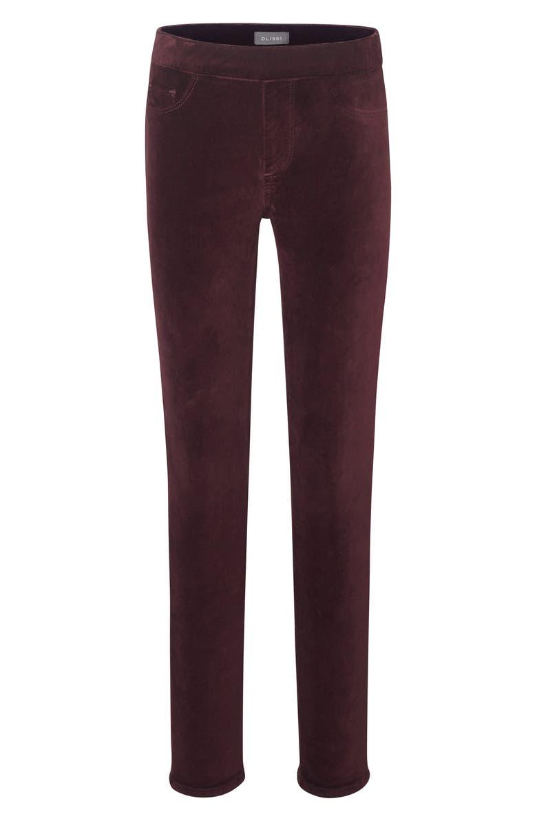 DL1961 Burgundy Velveteen Leggings, Main, color, MANOR