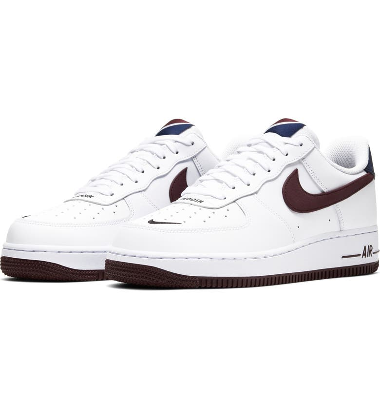 NIKE Air Force 1 '07 LV8 4 Sneaker, Main, color, WHITE/ NIGHT MAROON/ OBSIDIAN
