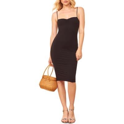 Reformation Mena Ribbed Body-Con Dress, Black