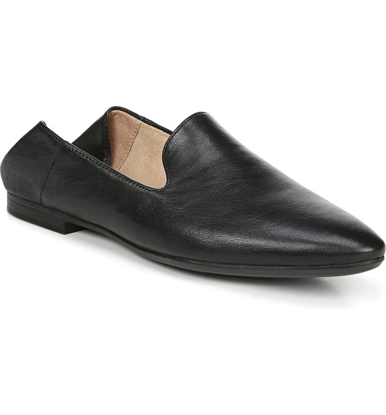 NATURALIZER Lorna Collapsible Heel Loafer, Main, color, BLACK LEATHER