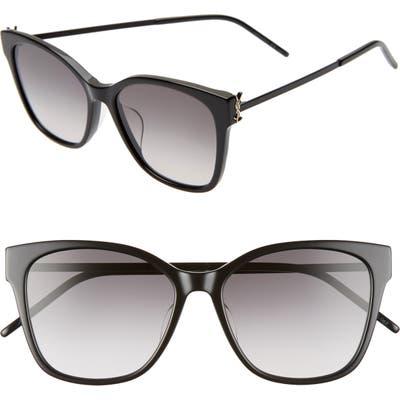 Saint Laurent 5m Rectangular Sunglasses - Shiny Black/ Smoke Gradient