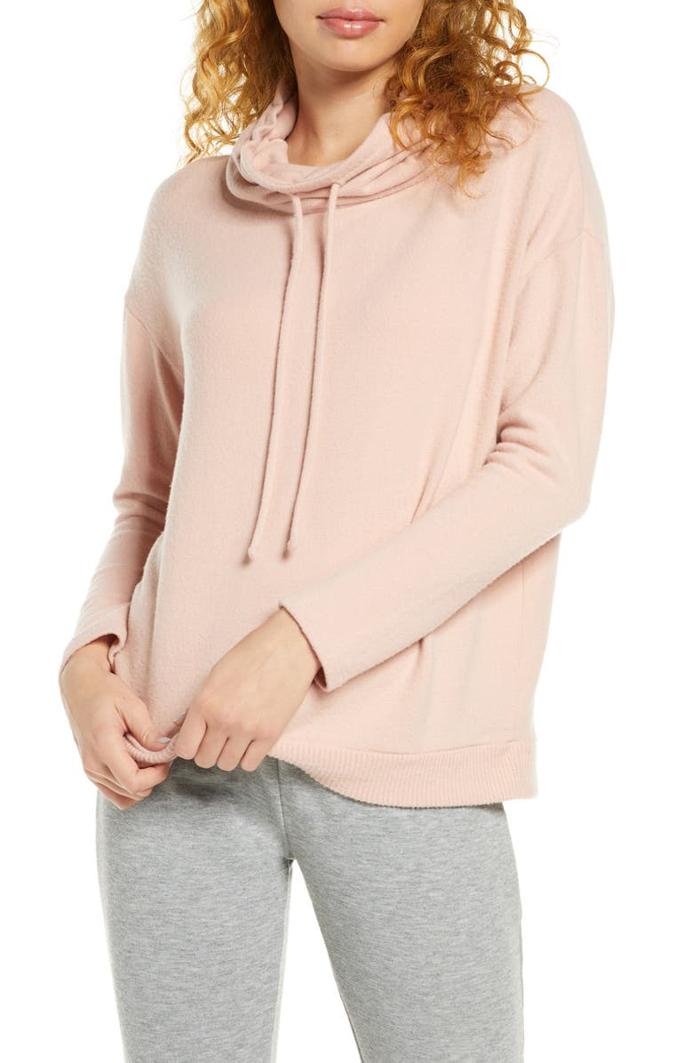EBERJEY Cozy Time Drawstring Funnel Neck Top, Main, color, MISTY ROSE
