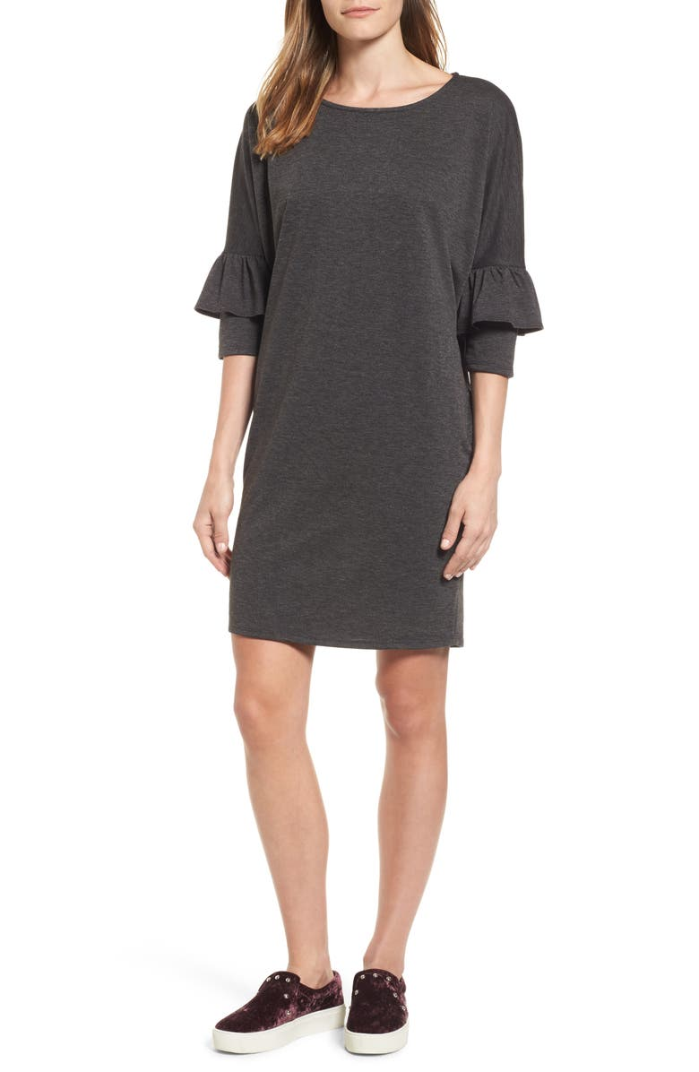 BOBEAU Ruffle Sleeve Tunic Dress, Main, color, 001