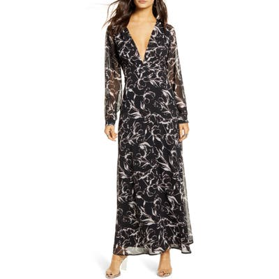 Leith Deep V-Neck Long Sleeve Maxi Dress, Black