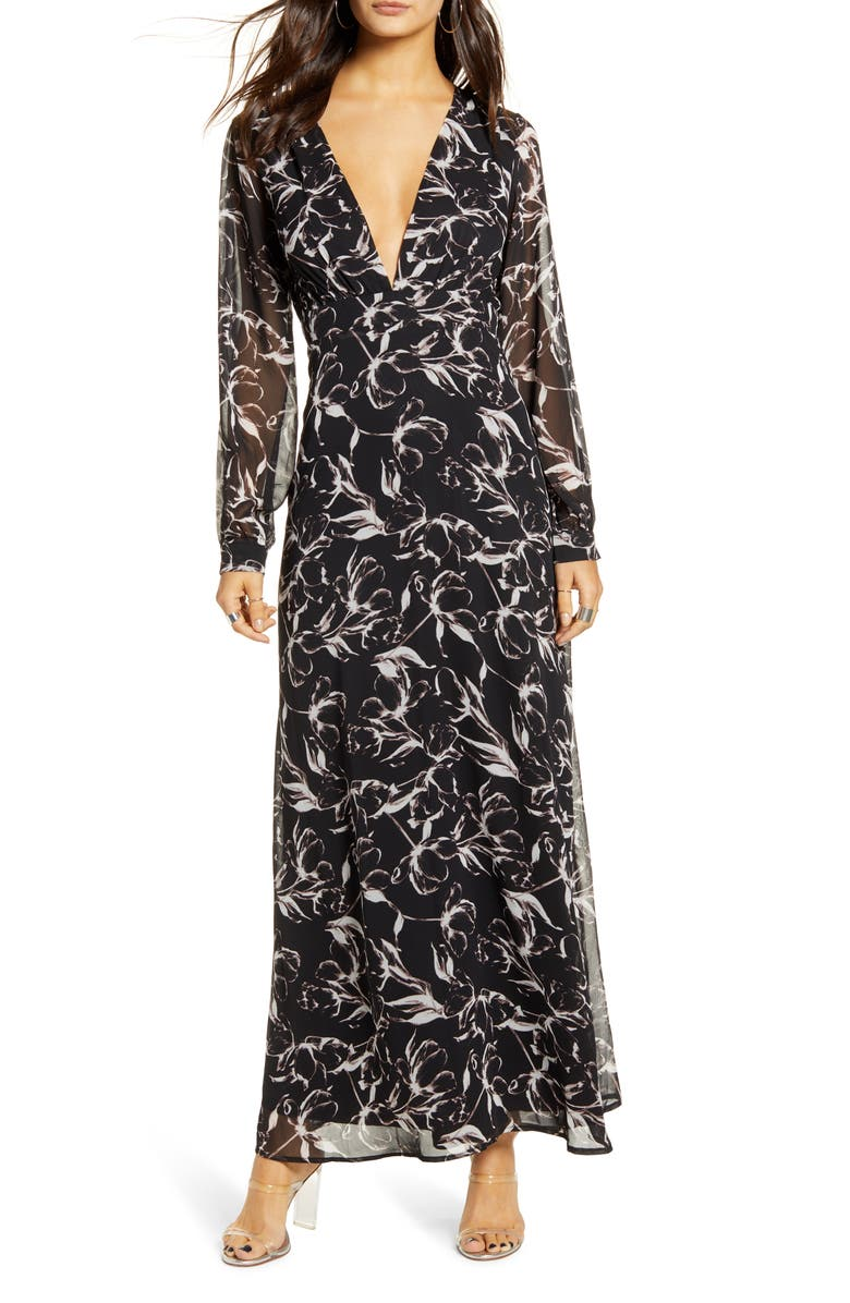 LEITH Deep V-Neck Long Sleeve Maxi Dress, Main, color, 001