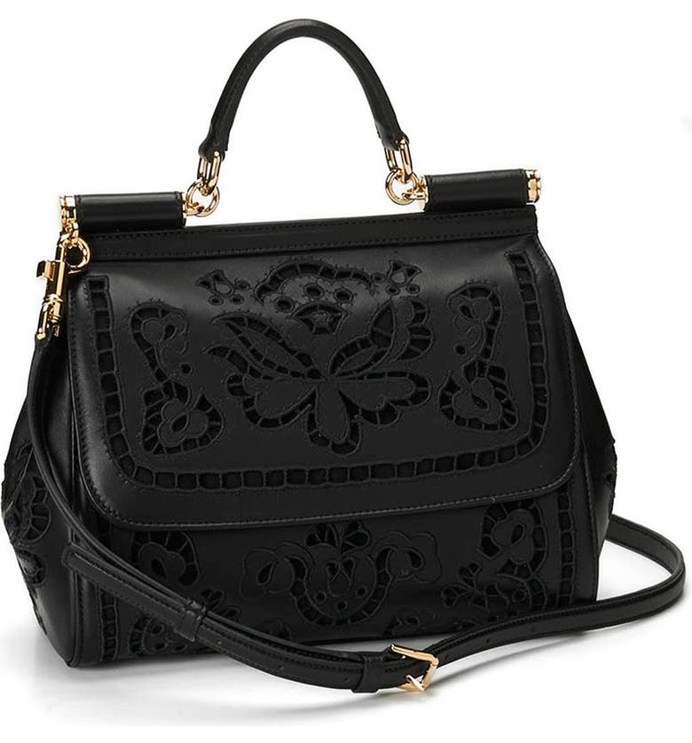 DOLCE&GABBANA 'Miss Sicily' Embroidered Floral Satchel, Main, color, 001