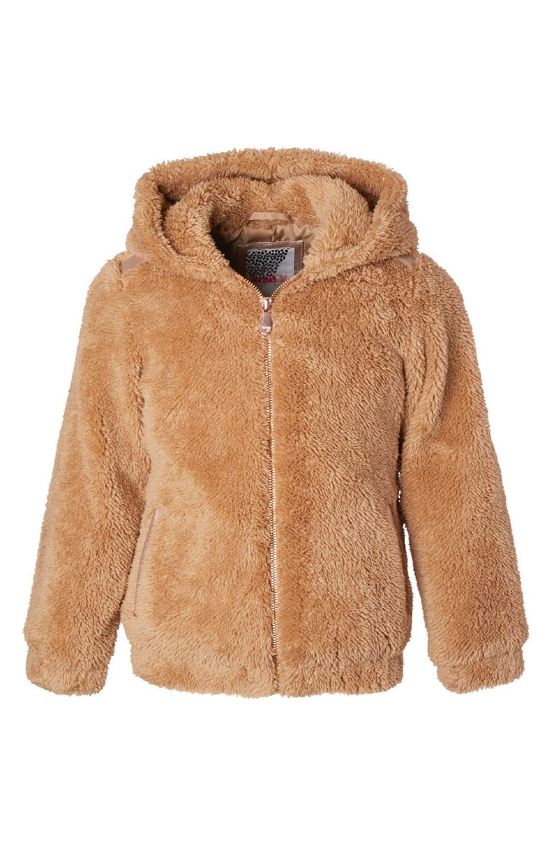 KENSIE GIRL Wubby Hooded Jacket, Main, color, CAMEL