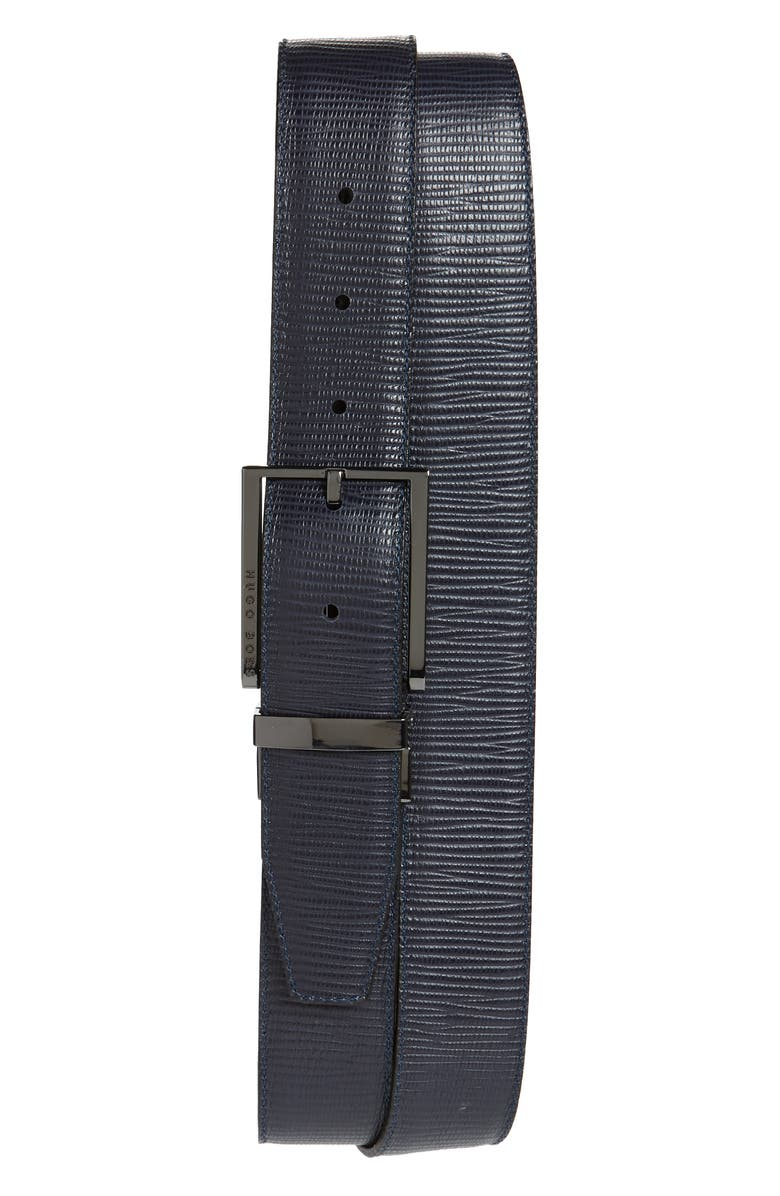 HUGO Gion Reversible Leather Belt, Main, color, BLACK